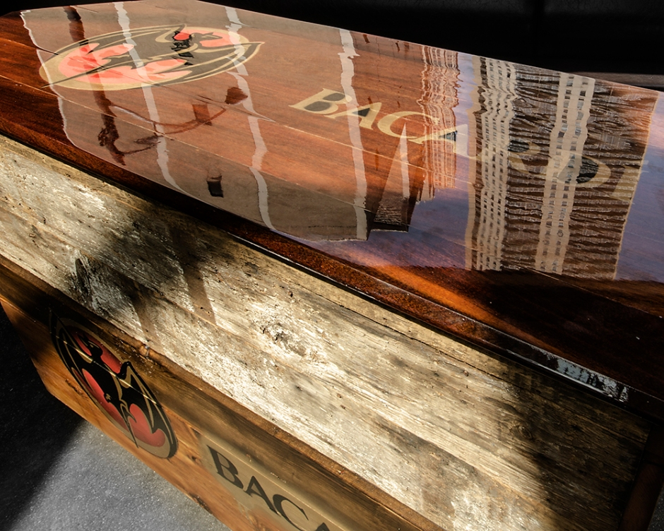 A moveable bar created for American Junkie Chicago. Commissioned by Bacardi Rum.