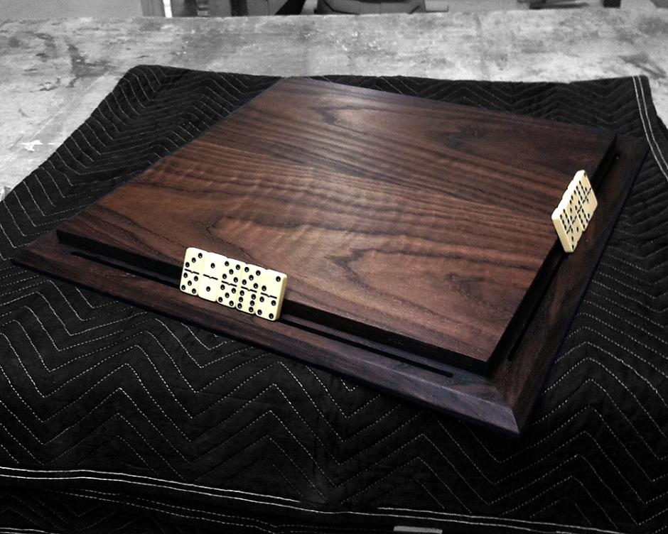 Ebonized red oak, Domino playing board.
