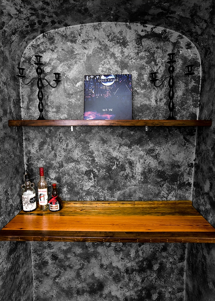 Built in bar and shelf, made from old growth salvaged pine and walnut.