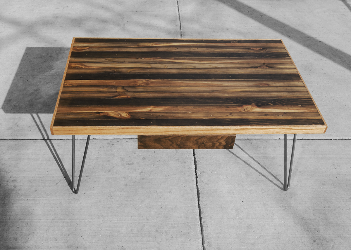 Striped coffee table rh timber this is a small coffee table built with ebonized salvaged old growth lumber geotapseo Choice Image
