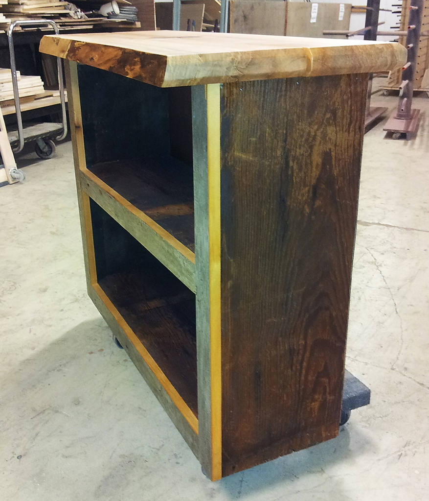 The body of this cabinet is made from salvaged Michigan barn wood and the top from Chicago grown Hard Maple.