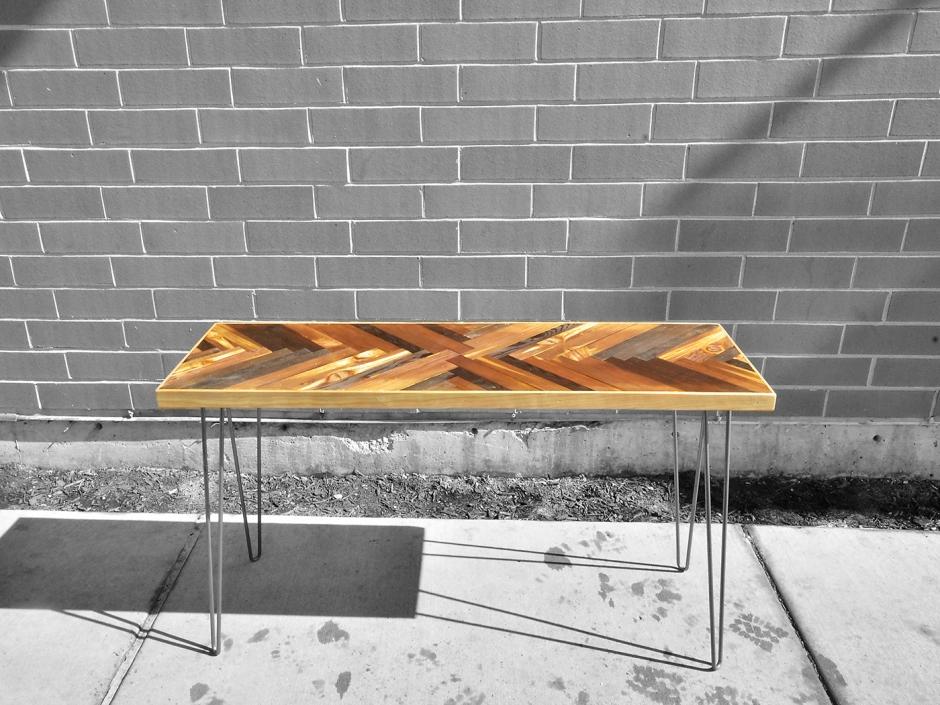 Herringbone End Table