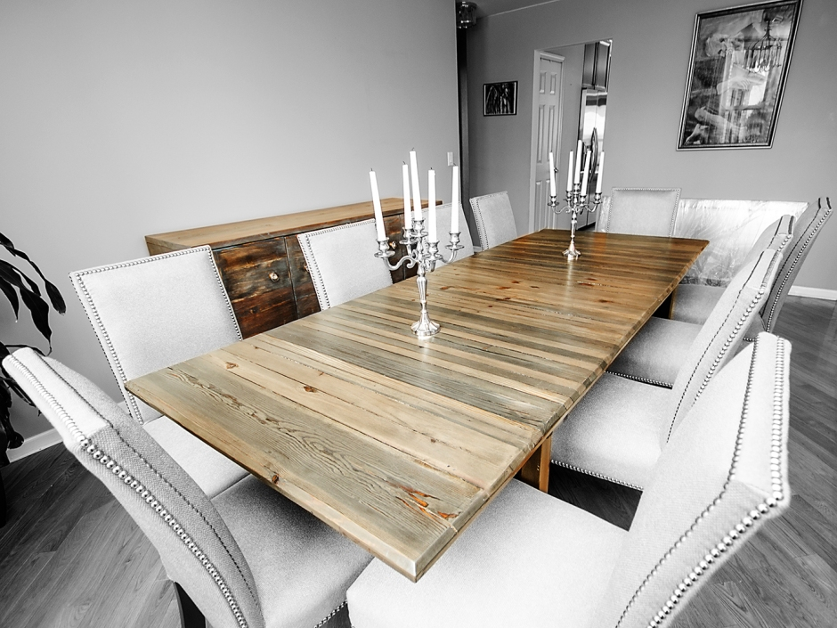 Large ebonized/white washed dining table with removable wooden legs.